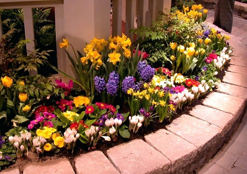 how to plant a flower bed in front of house