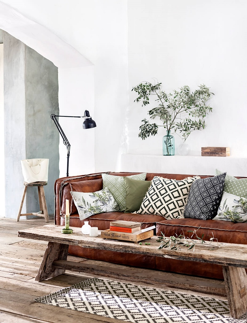 leather sofa in the living room