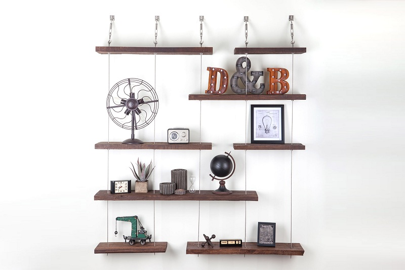 Place suspended shelves