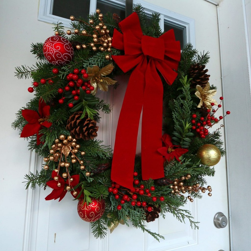 Door with a gift bow